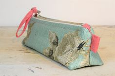 pencil case - cosmetic case, bag - purse - wallet - zipper pouch - for women - pastel turquoise - rose by BagitBag on Etsy