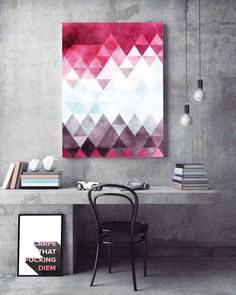 You are searching for the perfect decoration touch to any home or office ? This Printable Art is a contemporary downloadable print featuring a watercolor pink, purple and blue geometric triangle pattern. This is the perfect solution for a modern touch to your home decoration. ;)