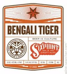 ... Brewery Bengali Tiger IPA India Pale Ale Beer, New York, USA label