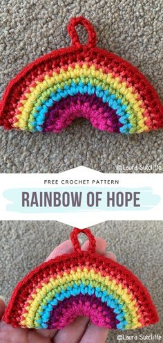 Happy Crochet Rainbows Free Patterns - - Crochet Rainbow is always a good idea! Today, in many cities, people are hanging the colorful symbols of hope and joy in their windows to show solidarity. Crochet Pattern Free, Crochet Gratis, Crochet Motif, Easy Crochet, Crochet Flowers, Crochet Stitches, Crochet Hooks, Crochet Baby, Knitting Patterns