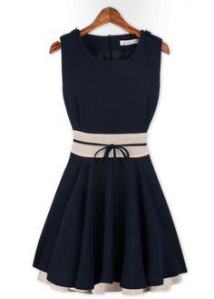 Simple Round Neck Empire-Waist A Line Mini Dress
