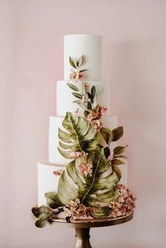 Winifred Kristé Cake - Amazing Wedding Cake Designers We Totally Love ★ wedding cake designers tall white with pink flowers and big tropical leves winifredkristecake Creative Wedding Cakes, Beautiful Wedding Cakes, Wedding Cake Designs, Perfect Wedding, Black Wedding Cakes, Wedding Cakes With Flowers, Flower Cakes, Purple Wedding, Gold Wedding
