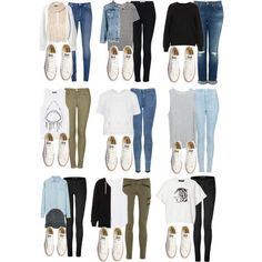 Eleanor inspired school outfits with white converse Untitled #4449 by florencia95 featuring super skinny jeans Topshop knit jumper / Zara embroidered shirt / Topshop cropped t shirt / Acne sleeve...