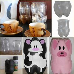 Plastic Bottle Cow and Pig Piggy Banks