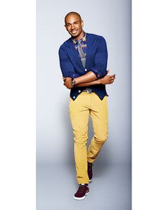 I'm about to change up my entire work wardrobe game. A totally fresh perspective on having to wear a tie everyday. My upper management would probably die. (Damon Wayans JR - GQ Photos in Mustard Color: Wear It Now: GQ Mustard Pants, Mustard Yellow, Well Dressed Men, Work Wardrobe, Men Looks, Swagg, Dapper, Corduroy, What To Wear