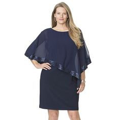 Ignite evenings plus sequin bodice capelet tiered gown for Dillards plus size wedding guest dresses