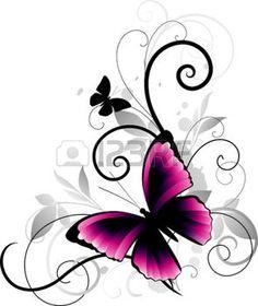 roze+vlinder%3A+Ornament+met+vlinder+