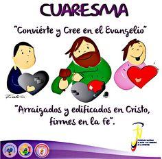 Conviertete, es momento de cambio. #Cuaresma♡ Lent, Cute Drawings, Pray, Believe, Family Guy, Parenting, Faith, Comics, School