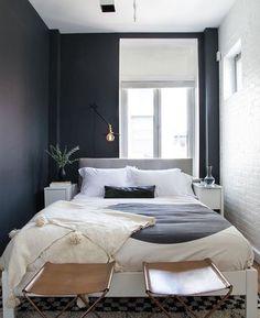 Dark blue grey bedroom decor idea