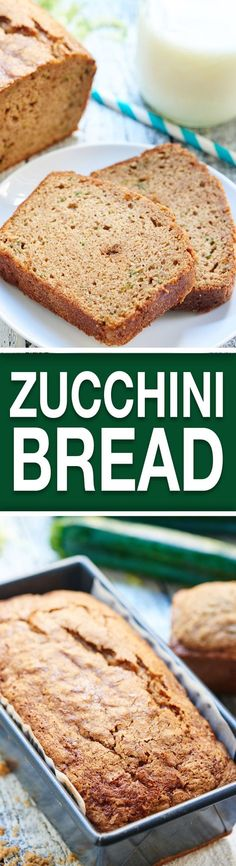 This Zucchini Bread Recipe is moist, dense, not overly sweet, and loaded with cinnamon. A great, fall recipe for breakfast or an after school snack! showmetheyummy.com #zucchini #bread