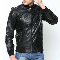 Men Leather Jacket New Genuine Lambskin Bomber Biker Slim Fit S Racer Coat Black Leather Bomber Jacket, Biker Leather, Lambskin Leather, Cowhide Leather, Leather Jackets Online, Slim Fit Jackets, Jacket Style, Stylish, Clothes