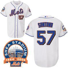Johan Santana White Jersey $18.99 This jersey belongs to Johan Santana, New York Mets #57  Color: white Size: M, L, XL, XXL, XXXL  The jersey is made of heavy fabric with nylon diamond weave mesh