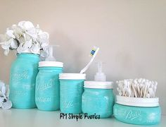 Painted Mason Jars Home Decor Bathroom Decor by RMSimpleRustics, $50.00