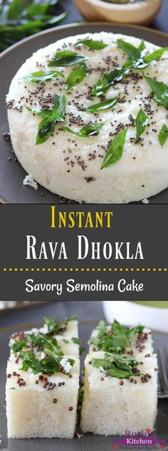 Soft and spongy Instant Rava Dhokla is a steamed savory cake made in a jiffy with semolina (sooji) and aromatic spices. A perfect tea-time snack that is light on the tummy and tastes amazing! Evening Snacks Indian, Indian Snacks, Healthy Evening Snacks, Healthy Snacks, Gujarati Cuisine, Gujarati Recipes, Gujarati Food, Veg Recipes, Indian Food Recipes