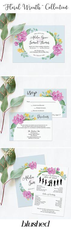 Blue Wedding Invitation Printables Watercolor Flower Wedding