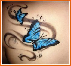 small blue butterfly tattoo | Best Vine Tattoo Designs Most Popular Flower For Girls