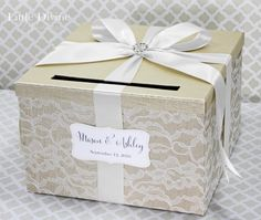 Wedding Card Box Champagne White Lace Card Holder by LittleDivine