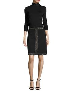 Sequined+Milano+Knit+A-line+Mini+Skirt,+Black+and+Matching+Items+by+St.+John+Collection+at+Neiman+Marcus.