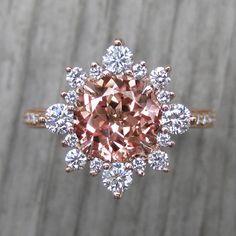 Non Diamond Engagement Rings, Engagement Rings Couple, Sapphire Gemstone, Gemstone Rings, Citrine Ring, Peach Champagne Sapphire, Halo Diamond, Gemstones, Jewlery