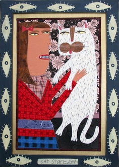 2008 Collection | Chris Roberts-Antieau Chris Roberts, Rug Hooking, Cat Art, Lovers Art, Textile Art, Graphic Illustration, Art Lessons, Fiber Art, Framed Art
