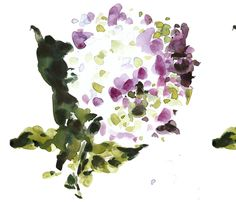 C'EST LA VIV™ Garden Lark Collection_Single Hydrangea  fabric by cestlaviv on Spoonflower - custom fabric
