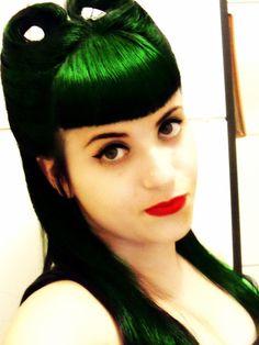 color of my dreams green hair. kity ear rolls. rockabilly hair style.