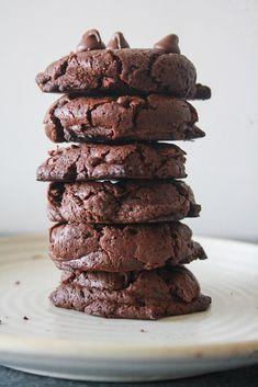 Dark, rich, fudgy, gluten-free double chocolate cookies made with buckwheat flour!