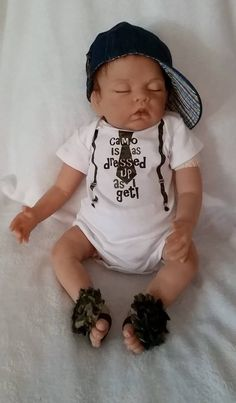 Newborn Camo Onsie with matching Barefoot Sandals.  DOLL IS NOT INCLUDED...DOLL IS JUST A MODEL