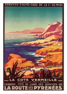Vintage Travel Poster, The Coast of Vermeille, France