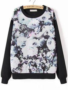 Ink Floral Print Black Casual Sweatshirt
