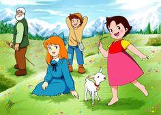 Heidi, Pedro, Clara, Avô e Yuky