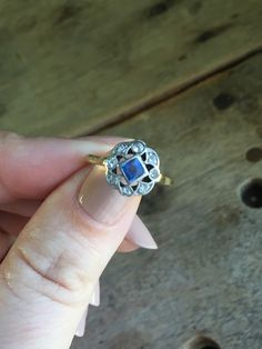 Antique sapphire and diamond ring in platinum and 14K yellow gold by VictoriaVVintage on Etsy