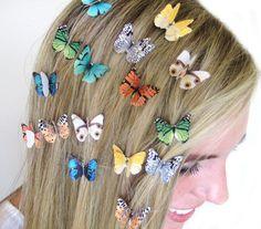 PICK 3 Butterfly Hair Clips Custom Colors by SpotLightJewelry, $31.95