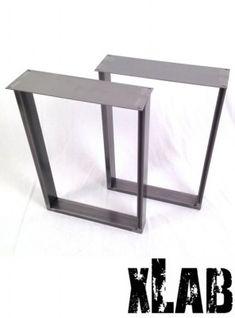 coppia gambe in ferro anticato per tavolo 80x75x8
