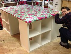 Creating my dream cutting table for sewing;  laminated cotton fabric                                                                                                                                                      More