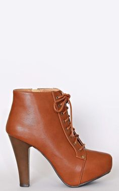 Clara Lace Up Booties - New Arrivals - Boots - Cognac - Footwear - Shoes - Styles For Less