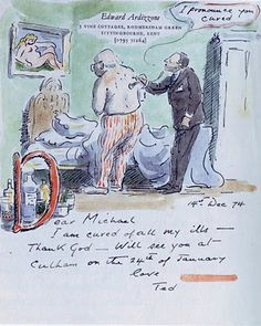 Edward Ardizzone to Michael Behren, 14 December 1947 Courtesy of the Archives of American Art, Smithsonian Institution Edward Ardizzone, Travel Sketchbook, Drawings Of Friends, Writing Art, Elements Of Art, Children's Book Illustration, Mail Art, Cool Drawings, American Art
