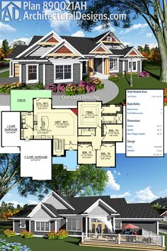 4/2 2300 Sq Ft Craftsman House Plan 890021AH Gives You Over 2,300 Square  Feet