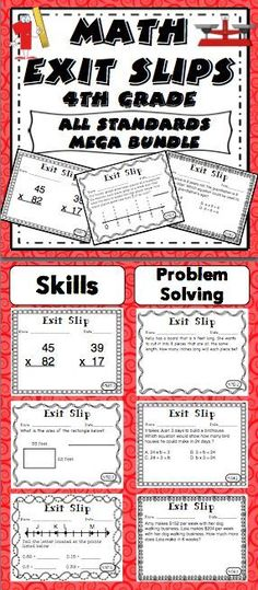 Math Exit Slip Mega Bundle - Formative assessment is simple with exit slips! Exit slips are a powerful tool for quickly assessing student understanding and creating a data driven classroom! This pack has 5 exit slips for each of the 4th grade Common Core Standards in math! $
