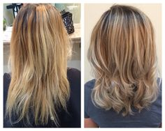 Balayage rooted blonde hair color highlights and lowlights cool ashy tones