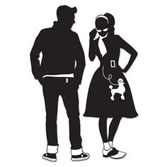 Set of 2 Silhouette Cutout Decorations. Shop today for Rock and Roll party supplies at Discount Party Supplies. Sock Hop Decorations, 50s Party Decorations, 50s Theme Parties, Dance Decorations, Dance Themes, Grease Themed Parties, 60s Theme, Rockabilly Couple, Rockabilly Mode