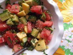 Savoury summer fruit salad made with watermelon, mango, avocado and cucumber