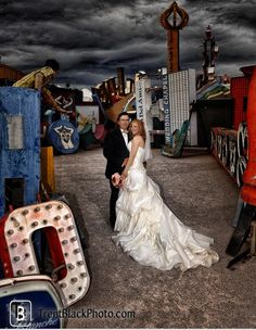 """I've always wanted to have a photo shoot in the """"Vegas graveyard"""", when better to do that then on my wedding day?!"""