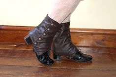 Red or Dark Brown Real Leather Spats by kikuboutique on Etsy