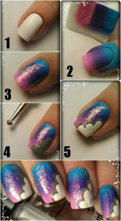 pink, purple, blue gradient. I like it without the white and sparkles