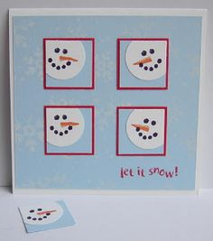 Another cute inchies card. Could replace the snowmen with snowflakes.