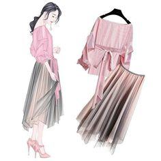 New Korean Clothing Ideas 8959368121 Korea Fashion, Asian Fashion, Daily Fashion, Fashion Art, Girl Fashion, Fashion Dresses, Fashion Trends, Fashion Design Drawings, Fashion Sketches