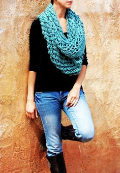 Gianne - Turquoise Green Lace knit Infinity Scarf by Eva Bella READY TO SHIP #girls #scarf #snood www.loveitsomuch.com