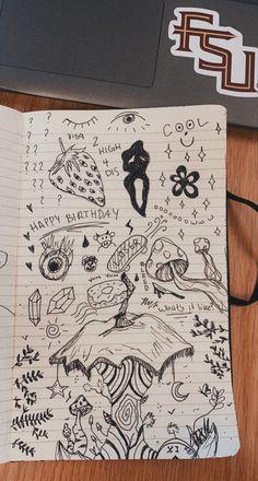 Indie Drawings, Dark Art Drawings, Art Drawings Sketches Simple, Doodle Drawings, Arte Grunge, Grunge Art, Trash Art, Art Diary, Arte Sketchbook