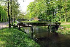 Een houten bruggetje over een slootje heen